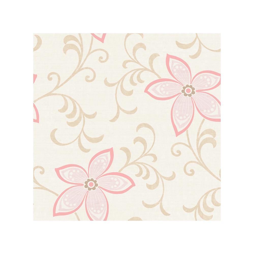 Khloe Green Girly Floral Scroll Wallpaper