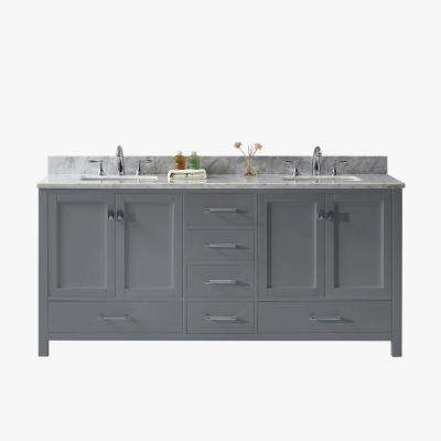 Caroline Avenue 72 in. W Bath Vanity in Gray with Marble Vanity Top in White with Square Basin