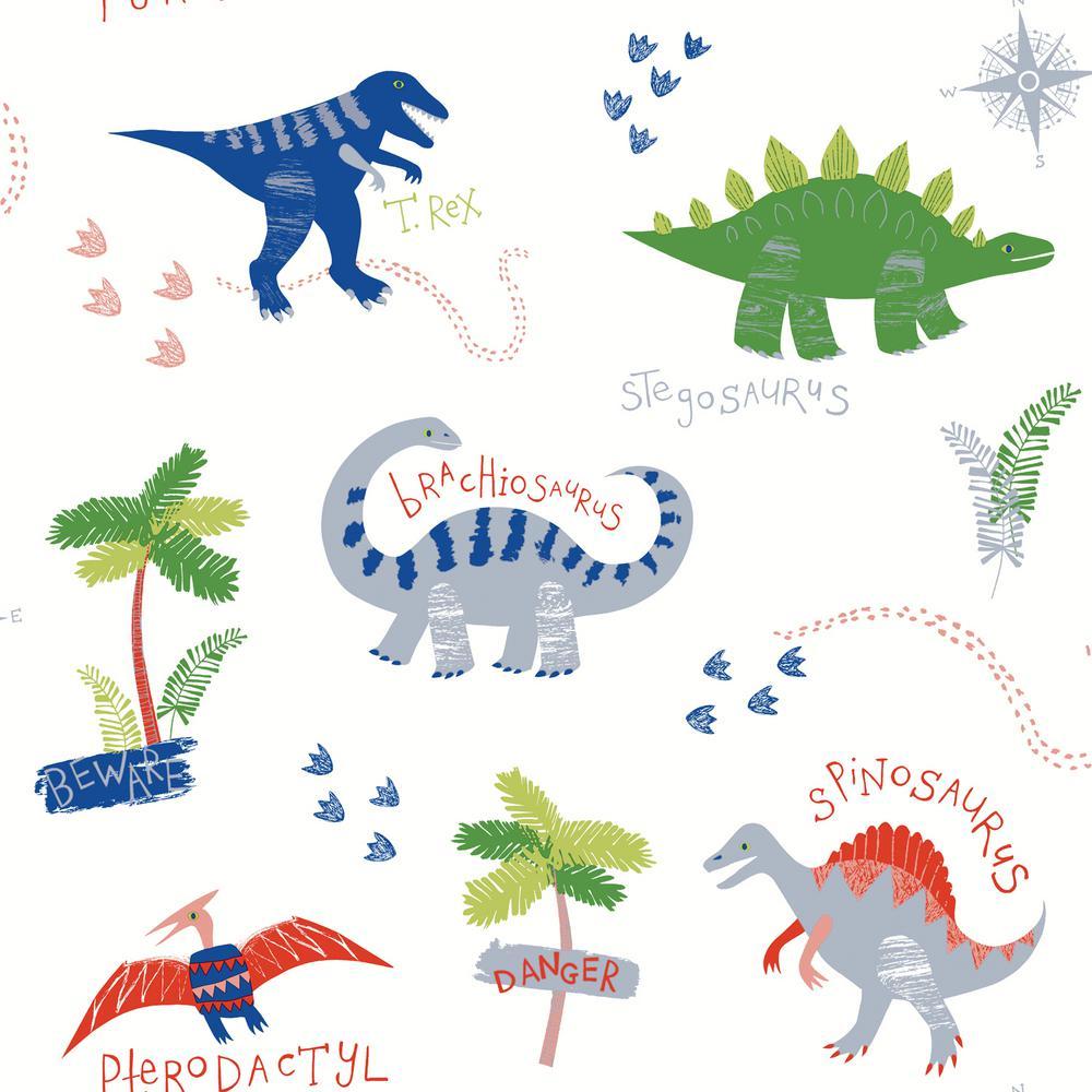 Arthouse Dino Doodles White Wallpaper