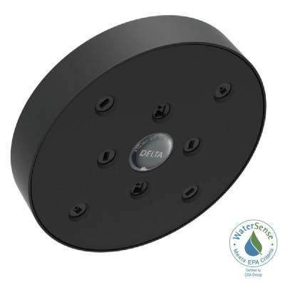 1-Spray 5-1/2 in. Fixed Shower Head with H2Okinetic in Matte Black