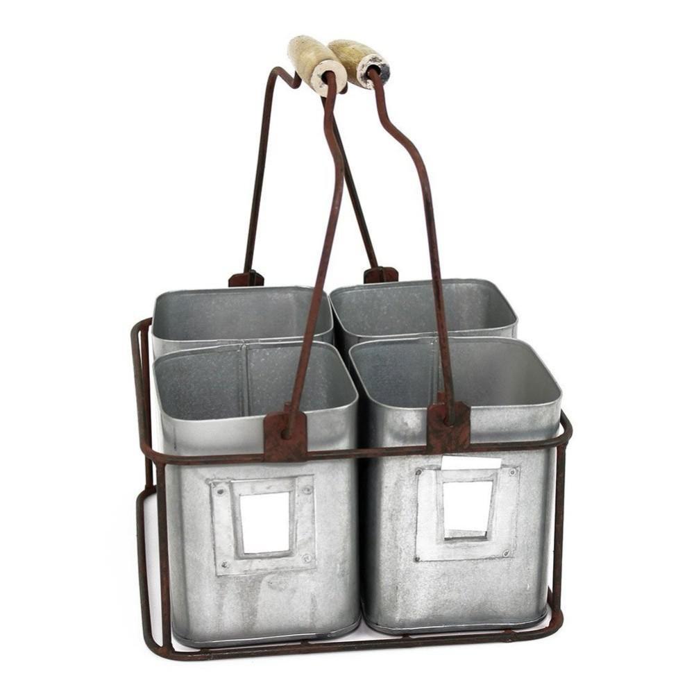 Gray Galvanized Metal 4-Tin Organizer with Handles