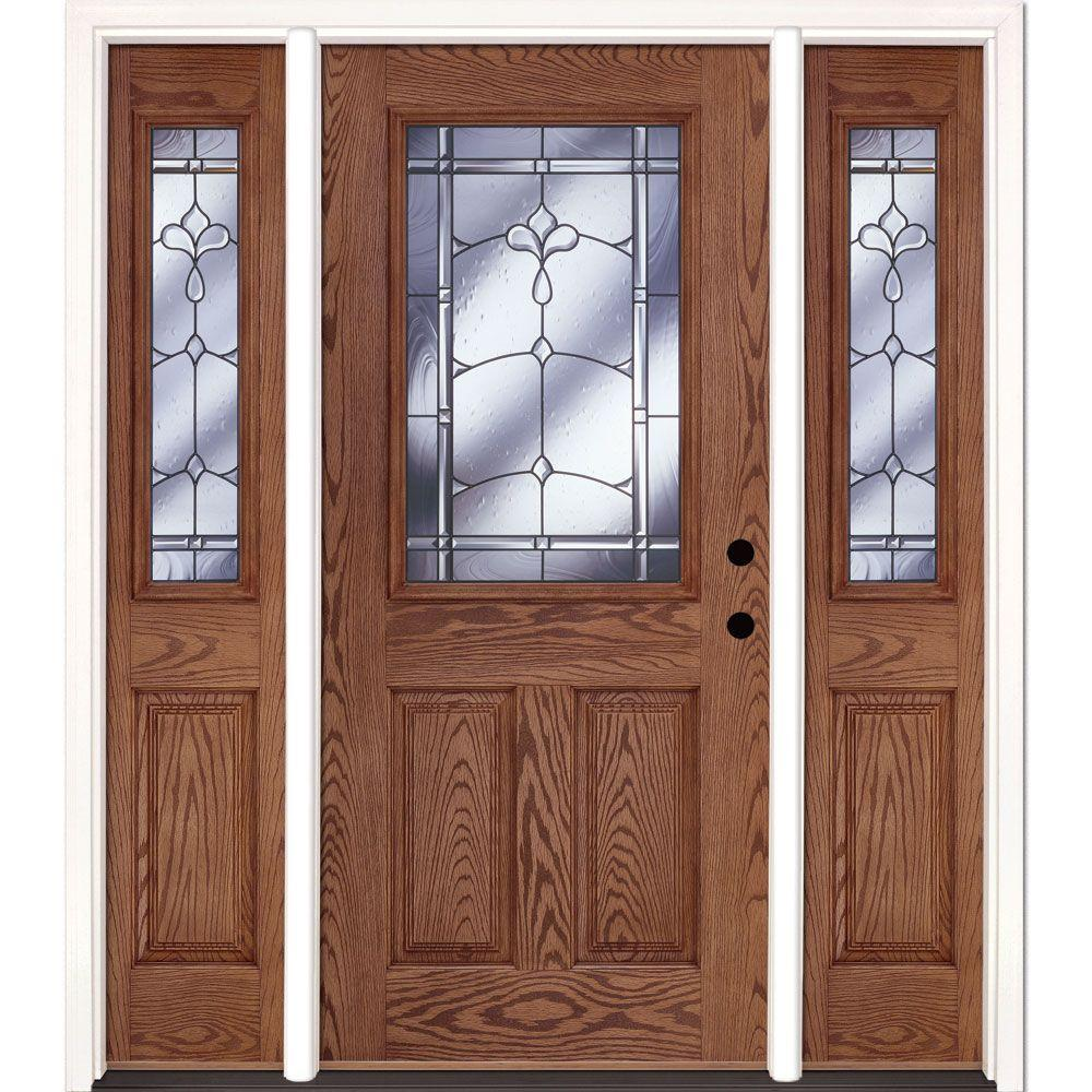 63.5 in. x 81.625 in. Carmel Patina 1/2 Lite Stained Medium