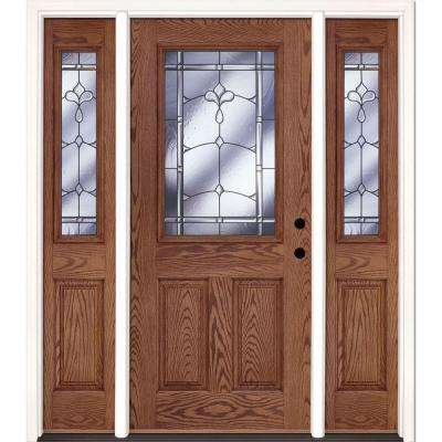 63.5 in. x 81.625 in. Carmel Patina 1/2 Lite Stained Medium Oak Left-Hand Fiberglass Prehung Front Door with Sidelites