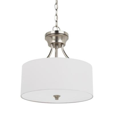 Stirling 2-Light Brushed Nickel Semi-Flushmount Convertible Pendant with LED Bulbs