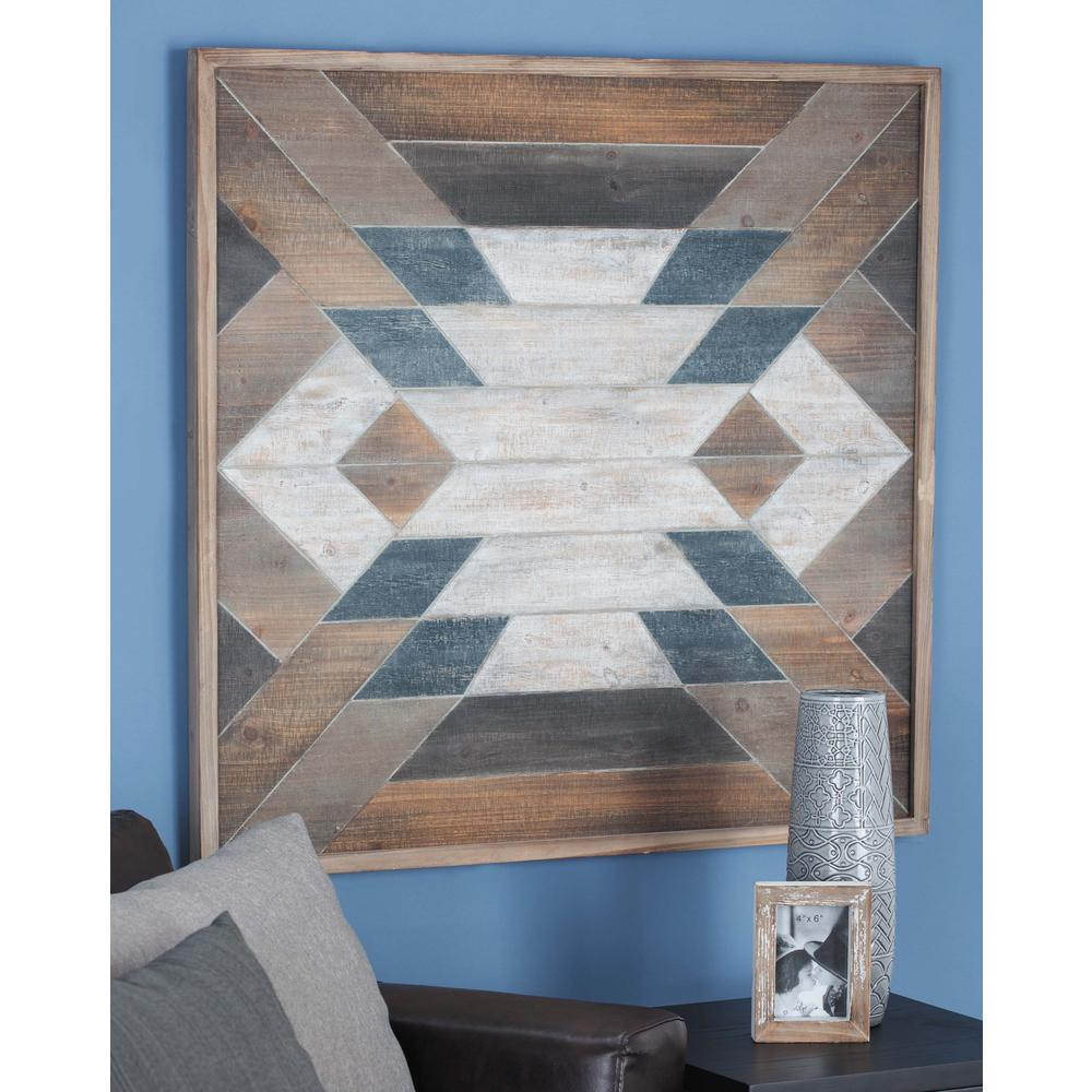 40 in. x 40 in. Rustic Blue and Brown Geometrical Wooden
