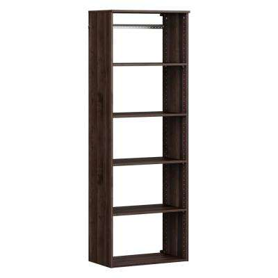 Style+ 14.59 in. D x 25.12 in. W x 71.6 in. H Modern Walnut Wood Closet System Hanging Tower
