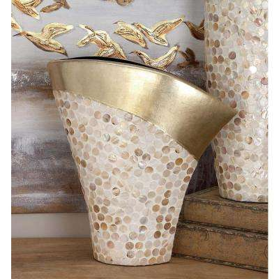 White and Gold Mother of Pearl Ceramic Decorative Vase