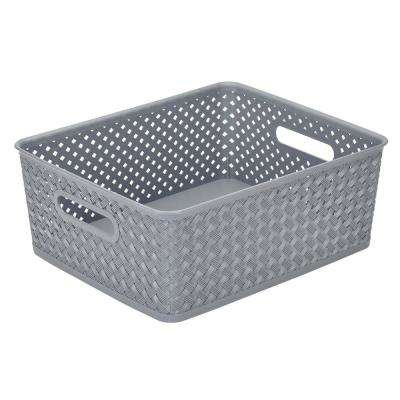14 in. x 11.5 in. x 5.15 in. Medium Resin Wicker Storage Bin in Grey