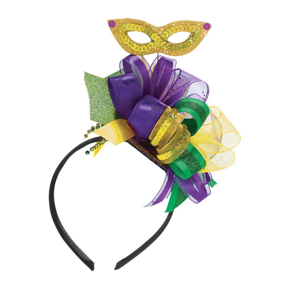 Green, Purple and Gold Mardi Gras Fascinator Headband (2-Pack)