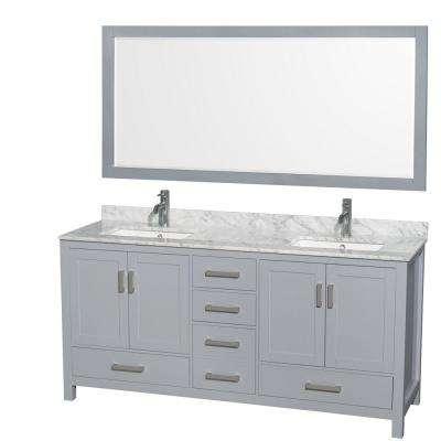 Sheffield 72 in. W x 22 in. D Vanity in Gray with Marble Vanity Top in Carrara White with White Basins and 70 in. Mirror