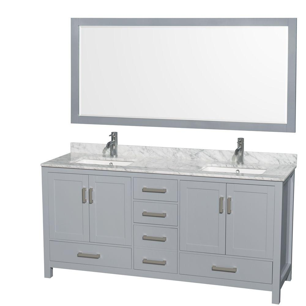 Wyndham Collection Sheffield 72 In W X 22 D Vanity Gray With