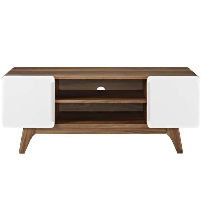 Tread 47 in. Walnut and White Wood TV Stand Fits TVs Up to 52 in. with Storage Doors