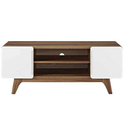 Tread 47 in. Walnut White TV Stand