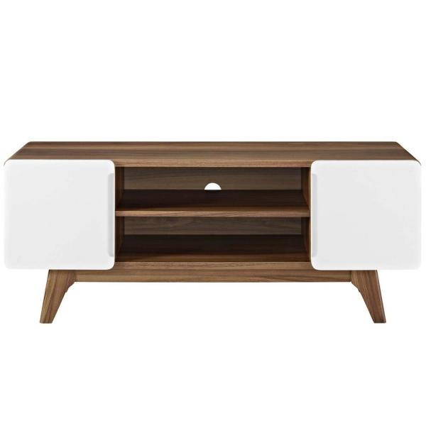 MODWAY Tread 47 in. Walnut White TV Stand EEI-2532-WAL-WHI