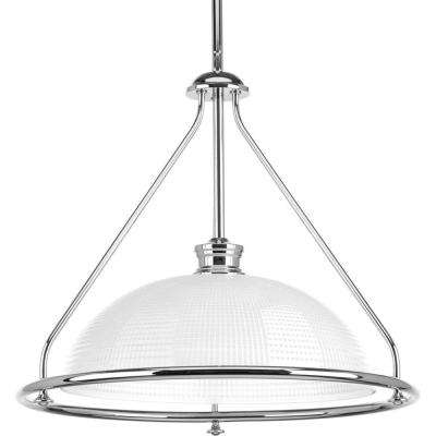 Lucky Collection 1-Light Polished Chrome Foyer Pendant with Frosted Prismatic Glass