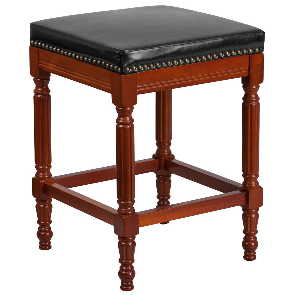 26 in. Black and Light Cherry Cushioned Bar Stool