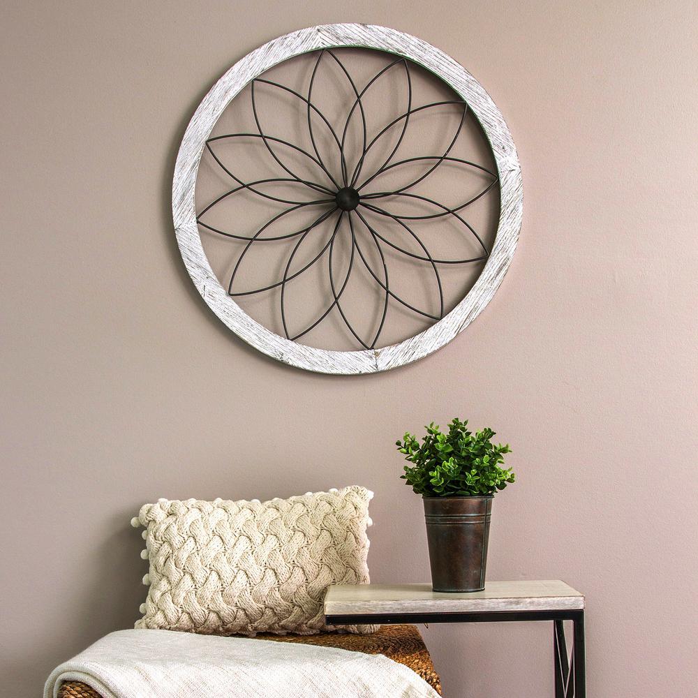 6d523b30e1 Stratton Home Decor Flower Metal and Wood Art Deco Wall Decor S09601 ...