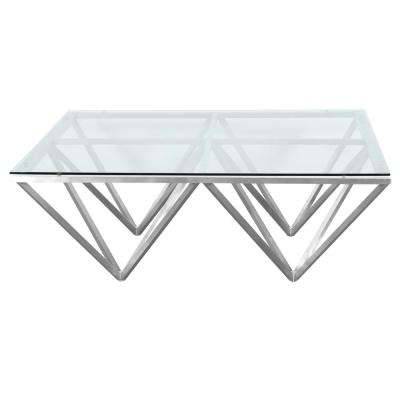 Armen Living Tempered Glass Top Contemporary Rectangular Coffee Table in Brushed Stainless Steel