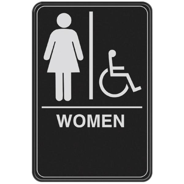 6 in. x 9 in. Women with Handicap Accessible Symbol Acrylic Restroom Sign with Braille