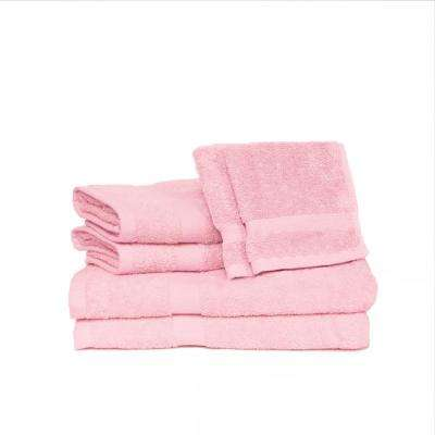 Deluxe 6-Piece Cotton Terry Bath Towel Set in Pink