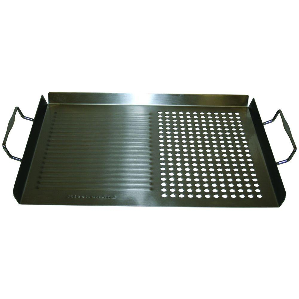 KitchenAid Grill Topper This cool-touch convenient KitchenAid Grill Topper can be used to grill vegetables and other foods that would otherwise fall through the grates. It has three raised sides to keep your food contained during grilling and features an open side to allow easy access to take food out. The classic design and durable materials will enhance your grilling experience and guarantee you have the right tools for the job.