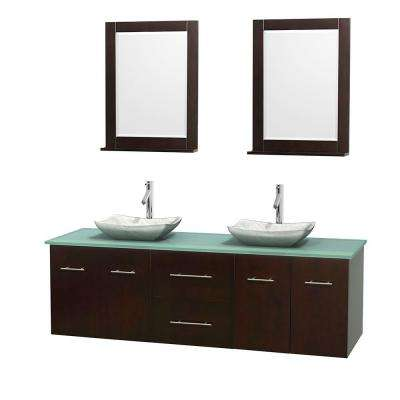 Centra 72 in. Double Vanity in Espresso with Glass ...