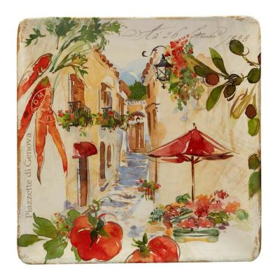 Piazzette Multi-Colored 12.5 in. Ceramic Square Platter