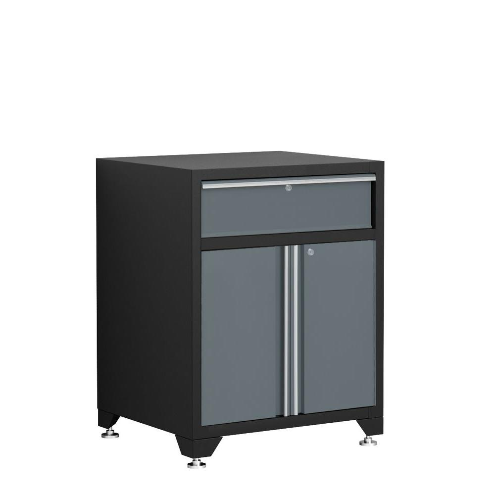 NewAge Products Pro Series 35 in. H x 28 in. W x 24 in. D 1 Drawer 18-Gauge Welded Steel Garage Base Cabinet with 2-Doors in Gray
