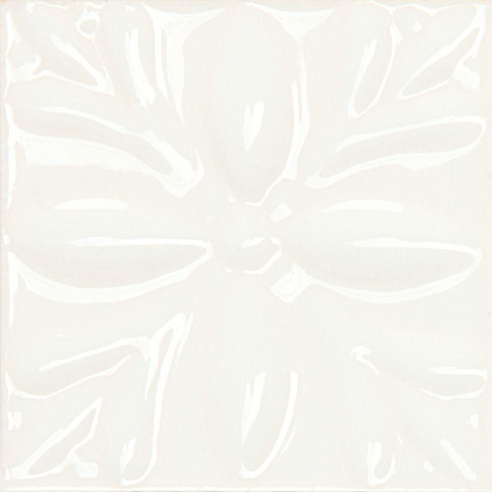Daltile Fashion Accents White 2 in. x 2 in. Petifour Dot Accent Wall Tile (4- set)