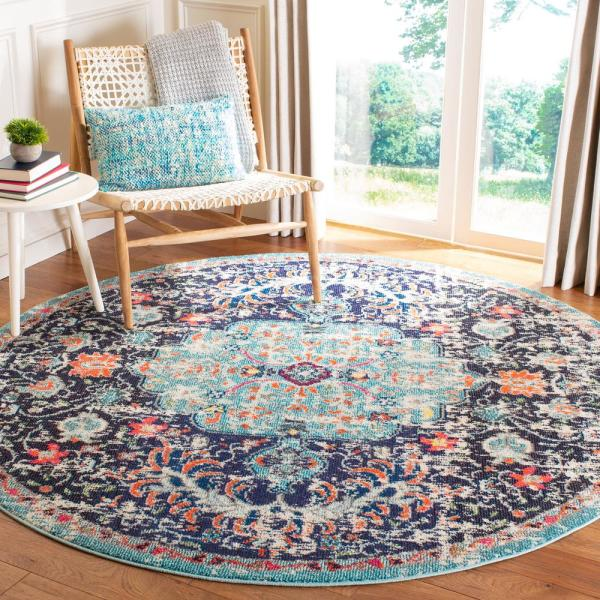 Safavieh Madison Black Teal 5 Ft X 5 Ft Round Area Rug Mad447z 5r The Home Depot