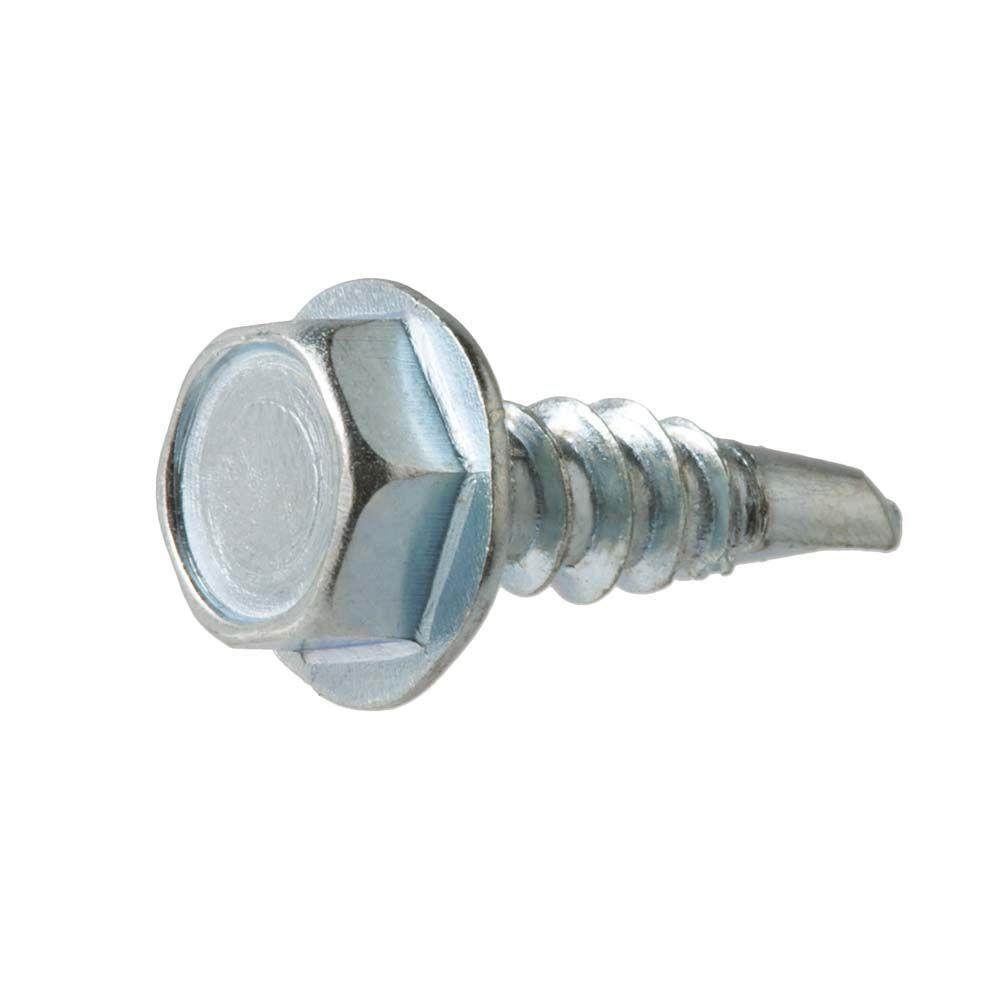 Everbilt #10 x 1 in. Stainless-Steel Hex-Head Self Drilling Sheet Metal Screw (2-Piece)