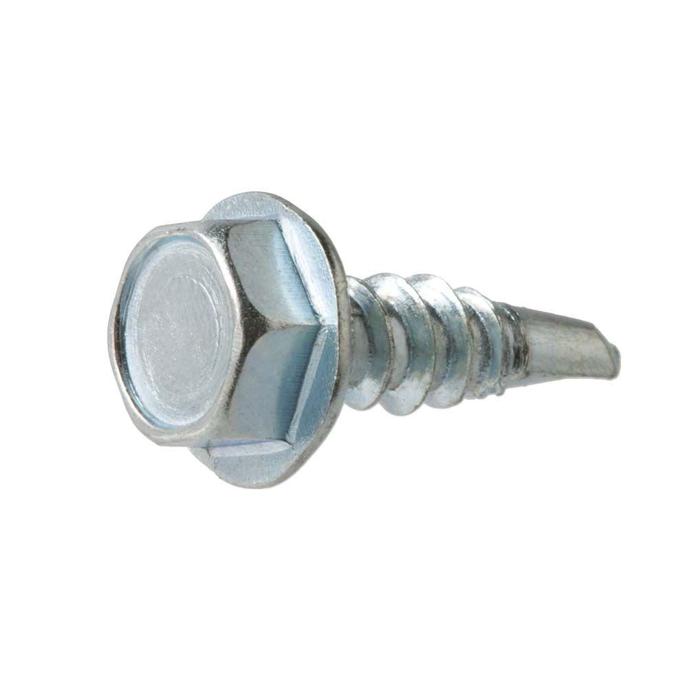 Zinc Plated Hex Washer Head Steel Sheet Metal Screw Pack of 9000 #8-18 Thread Size 5//8 Length Type B Hex Drive