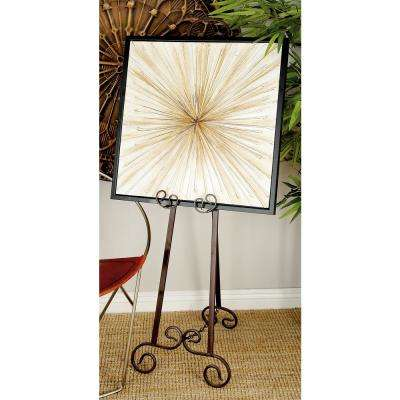 15 in. x 51 in. Gray Iron Adjustable Easel with Flourish Design Details
