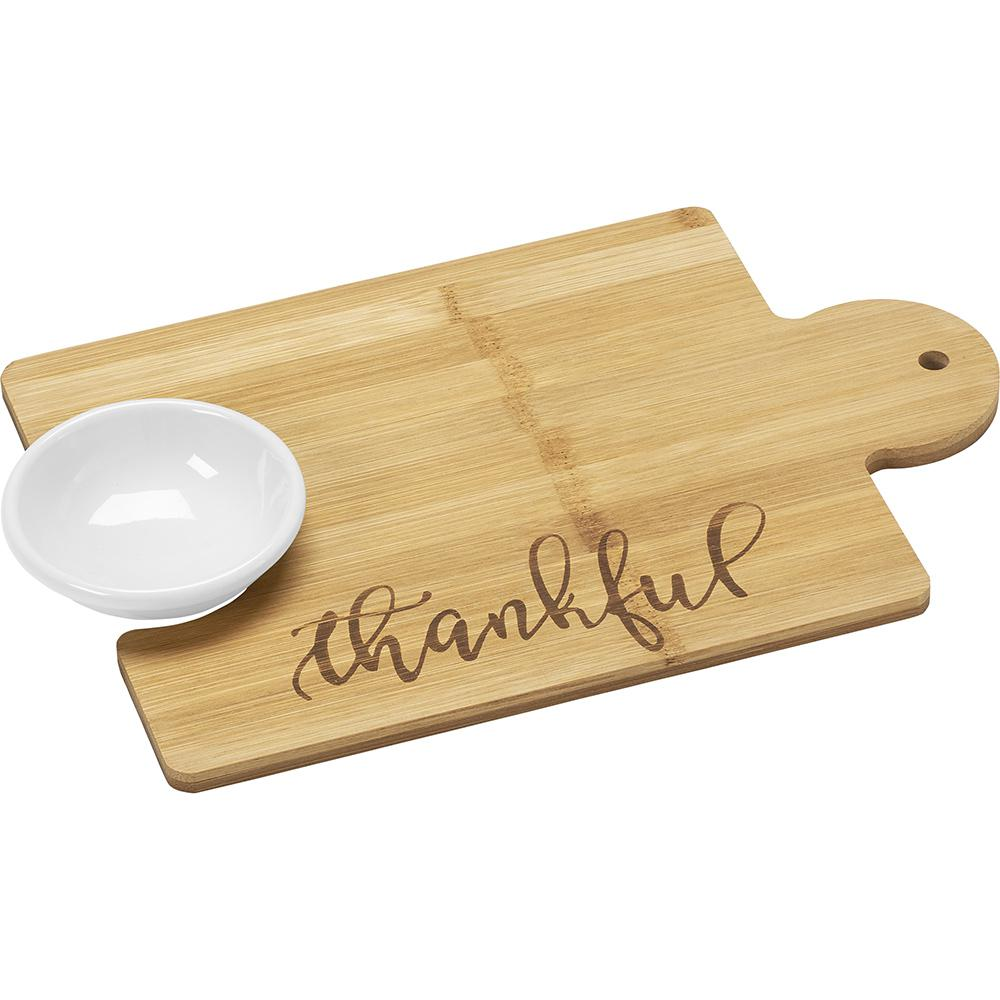 2-Piece Bamboo Thankful Puzzle Piece Cutting Board Set with 2 oz.