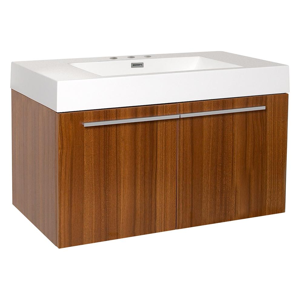 Fresca Vista 36 in. Bath Vanity in Teak with Acrylic Vanity Top in White with White Basin