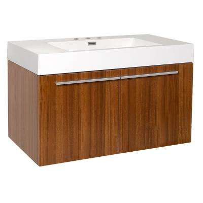 Vista 36 in. Bath Vanity in Teak with Acrylic Vanity Top in White with White Basin