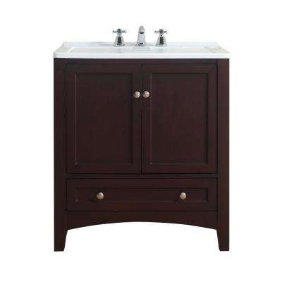 Manhattan 30.5 in. Laundry Basin in Espresso with Acrylic Vanity Top in White