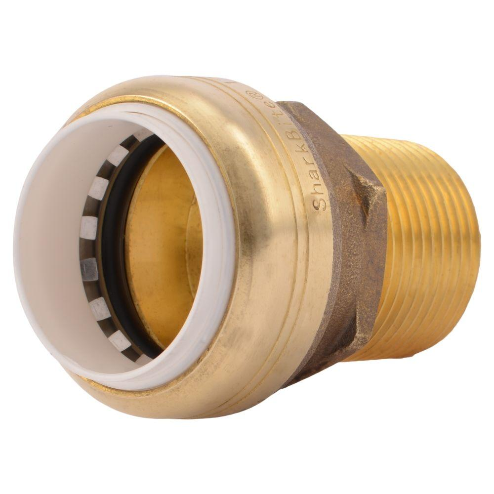 Sharkbite in brass push to connect pvc ips male