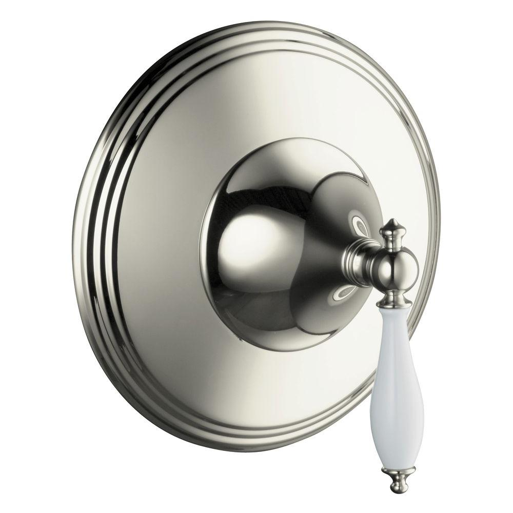 KOHLER Finial Traditional 1-Handle Thermostatic Valve Trim Kit in Vibrant Polished Nickel (Valve Not Included)-DISCONTINUED