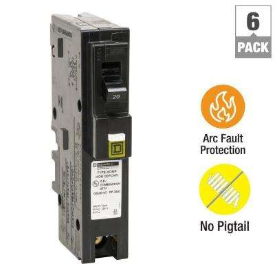 Homeline 20 Amp Single-Pole Plug-On Neutral Combination Arc Fault Circuit Breaker (6-Pack)