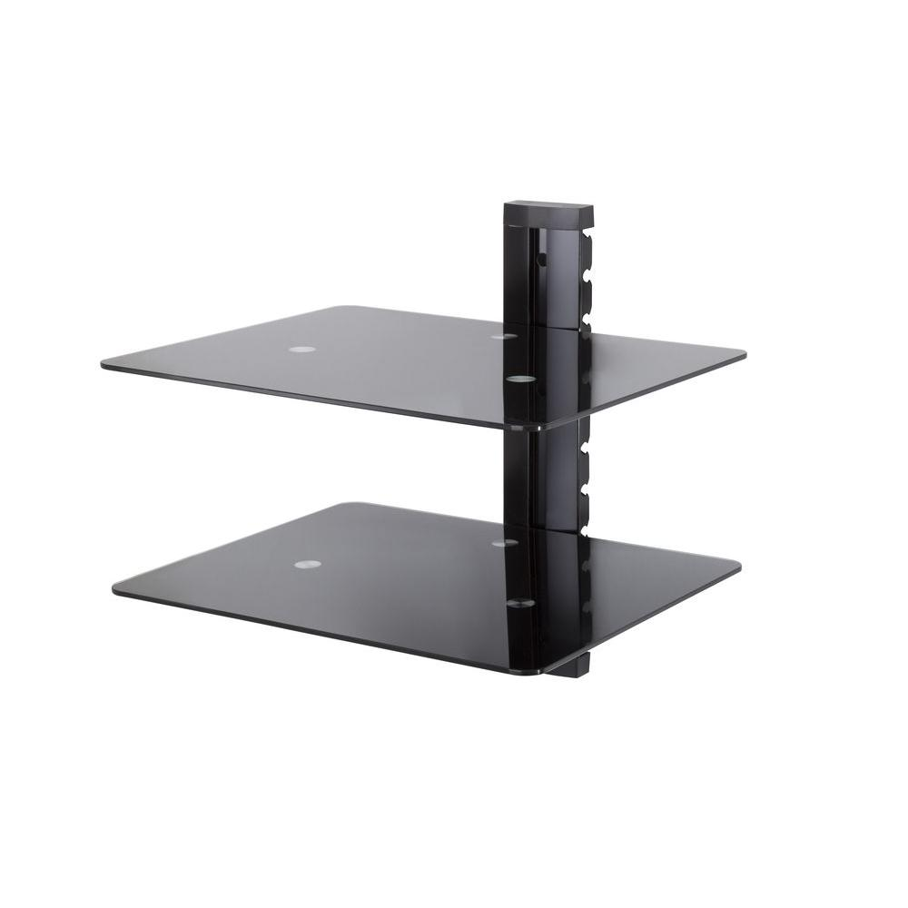 Wall Mounted AV Component Shelving Bracket, 2 Shelf, Black