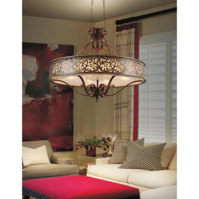 Nicole 4-Light Brushed Chocolate Chandelier with Beige shade