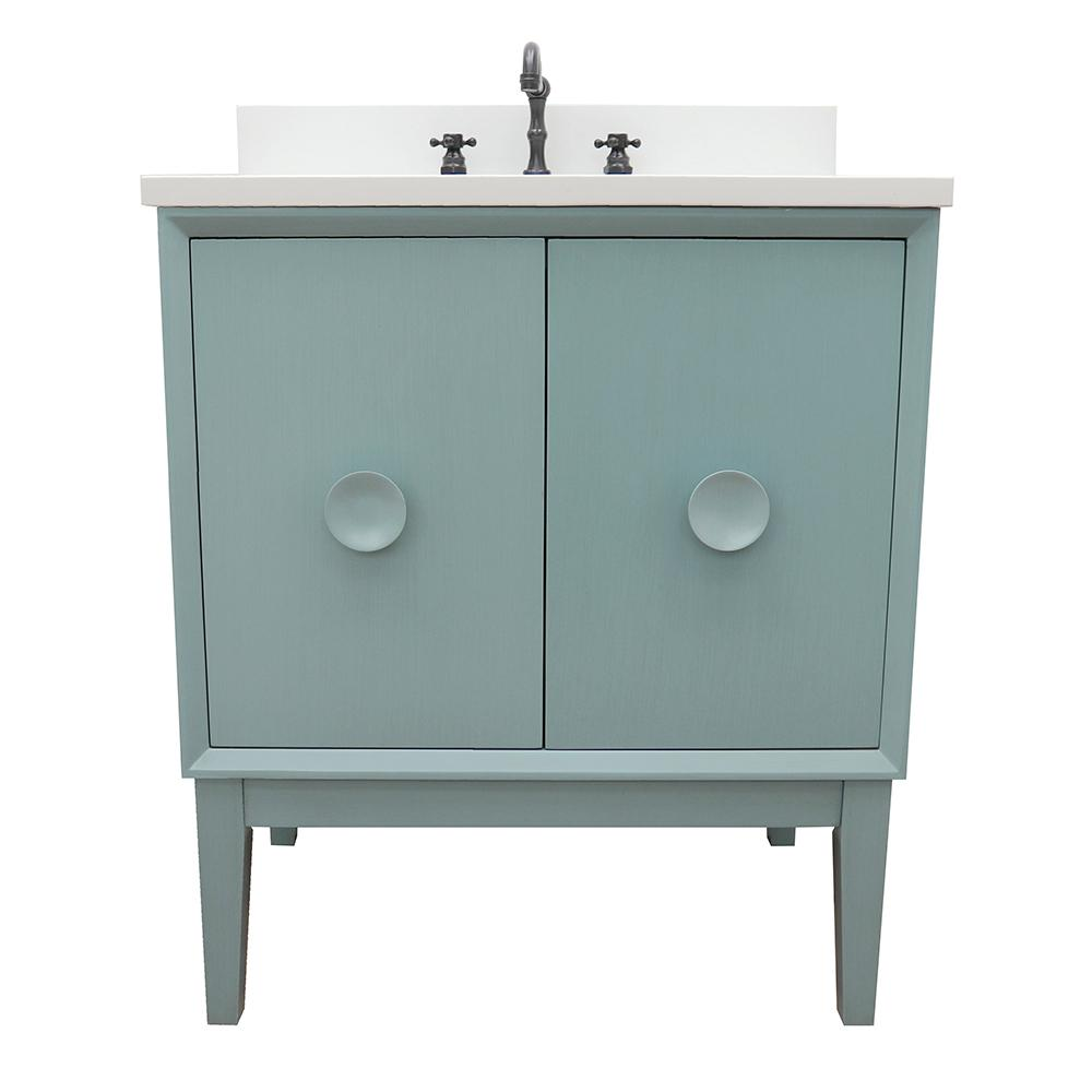 Bellaterra Home Stora 31 in. W x 22 in. D Bath Vanity in Aqua Blue with Quartz Vanity Top in White with White Rectangle Basin