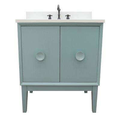 Stora 31 in. W x 22 in. D Bath Vanity in Aqua Blue with Quartz Vanity Top in White with White Rectangle Basin