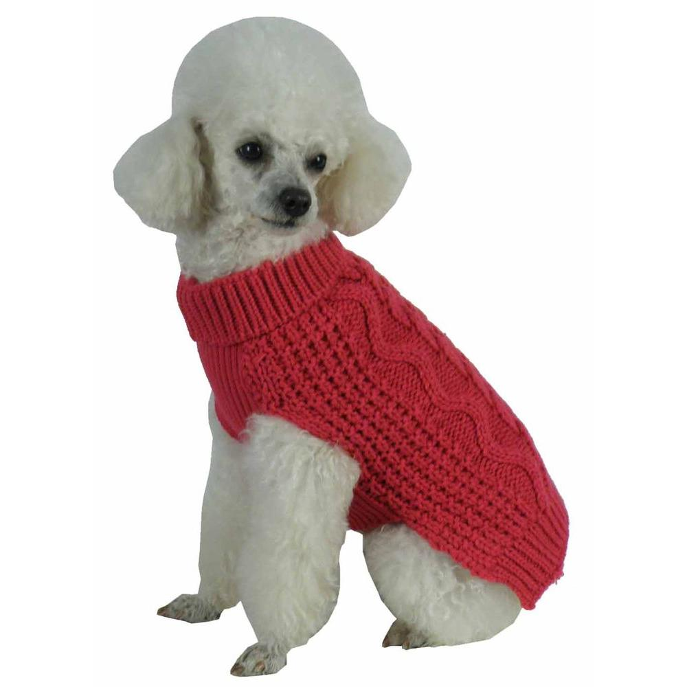 Pet Life Medium Red Salmon Swivel Swirl Heavy Cable Knitted Fashion