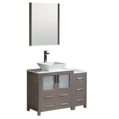 Torino 42 in. Vanity in Gray Oak with Glass Stone Vanity Top in White with White Basin and Mirror