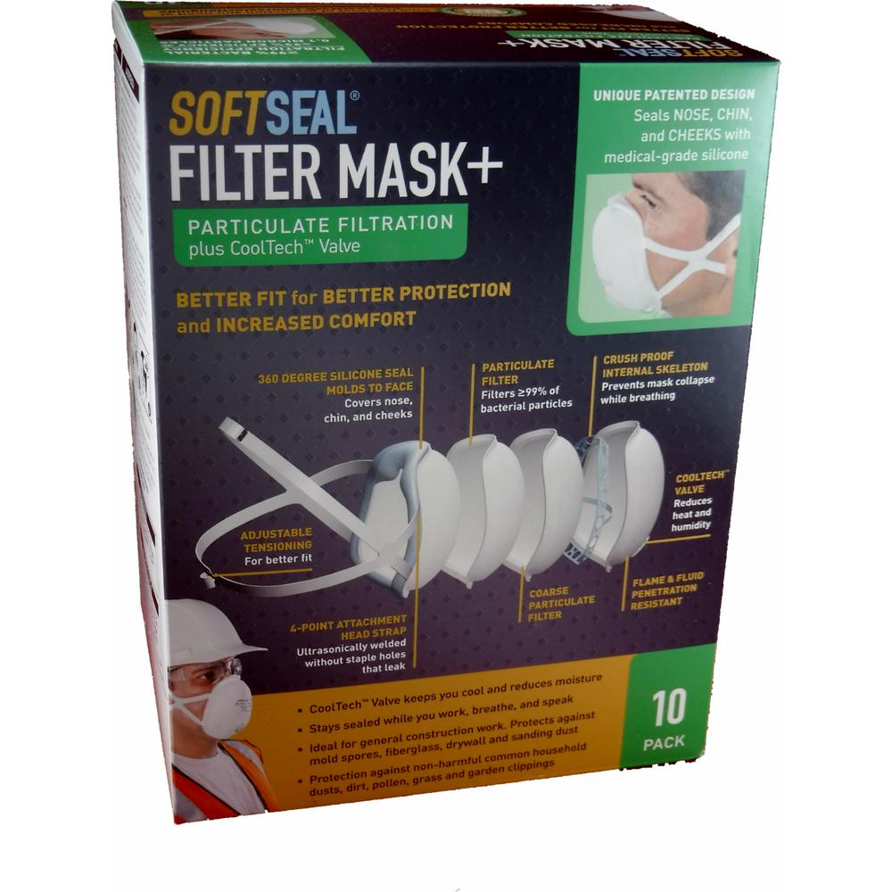 SoftSeal Silicon Molded X-large Fine Particle Filtration Respirator Filter Dust Mask (10-Pack)