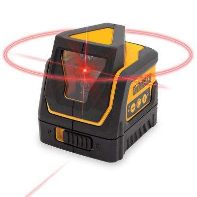 100 ft. Red Self-Leveling 360 Degree & Cross Line Laser Level with (3) AAA Batteries & Case