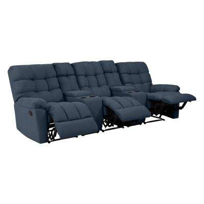 3-Seat Tufted Recliner Sofa with 2-Storage Consoles and USB Ports in Caribbean Blue Plush Low-Pile Velvet