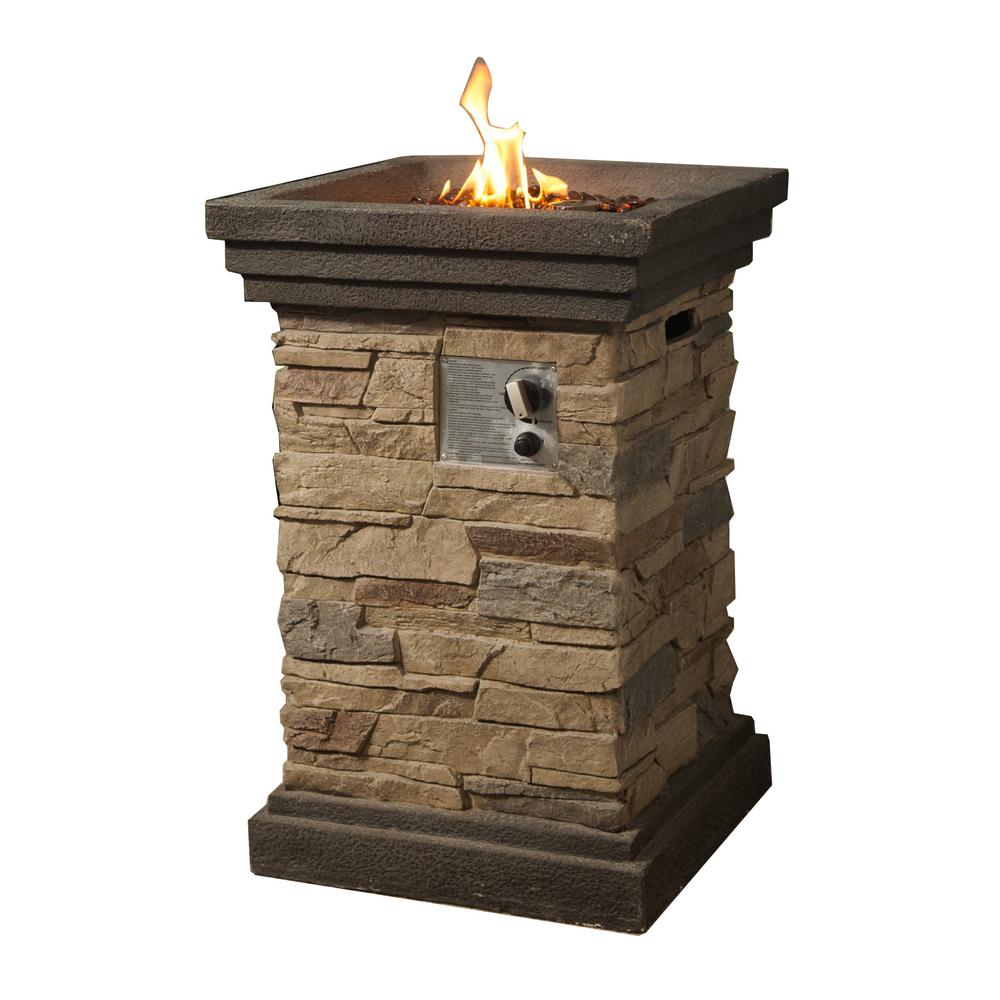 Peaktop 20 in. Outdoor Square Slate Rock Gas Fire Pit